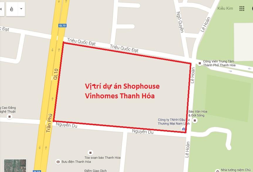 Vị trí của Vincom Shophouse Thanh Hóa